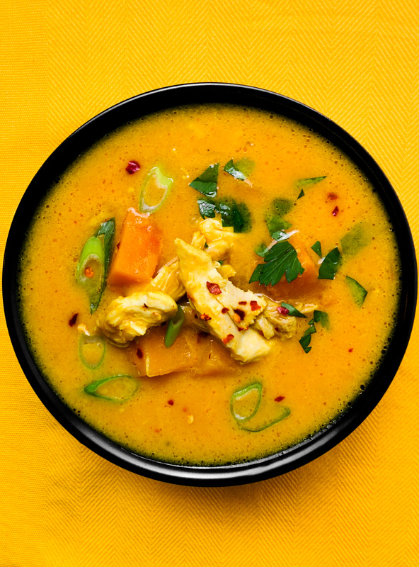 Creamy Thai chicken soup with pumpkin and lots of spices