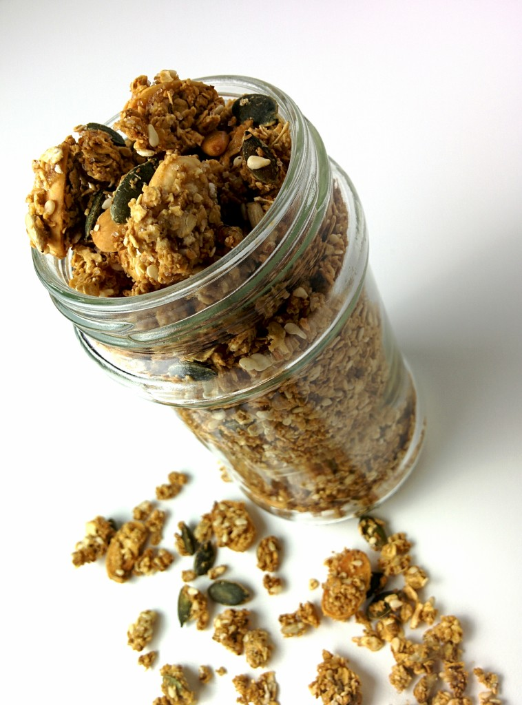 Homemade crunchy granola in jar