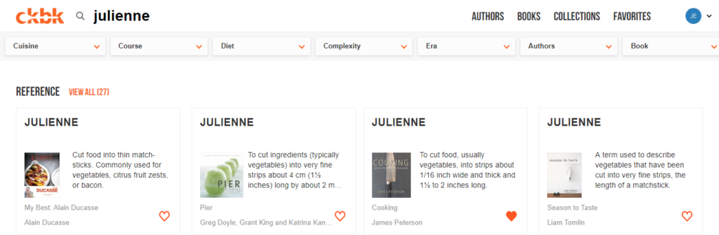 ckbk app screenshot of cooking term julienne explained