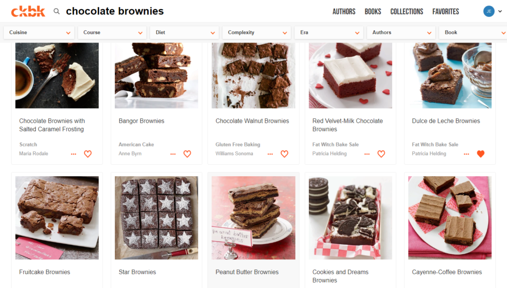 ckbk app screenshot searching for brownie recipes